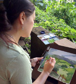Artist Emily Miller, watercolor painting on Kauai