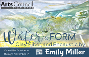 Invitation Postcard for Water & Form: clay, fiber, and encaustic