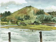 Kauai watercolor artwork by Hawaii Artist Emily Miller - Plein Air, Waita Reservoir