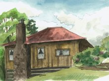 Kauai watercolor artwork by Hawaii Artist Emily Miller - Plein Air, Kokee Cabin 2