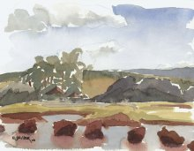 Kauai watercolor artwork by Hawaii Artist Emily Miller - Plein Air at Salt Pond