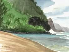 Plein Air at Kee Beach - Hawaii watercolor by Emily Miller