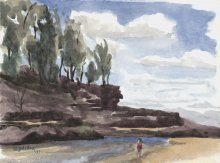 Kauai watercolor artwork by Hawaii Artist Emily Miller - Plein Air at Lumahai Beach