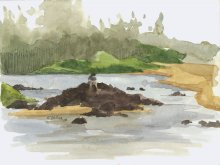 Kauai Artwork by Hawaii Artist Emily Miller - Looking Upriver, Kealia Stream - Plein Air