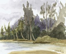 Kauai watercolor artwork by Hawaii Artist Emily Miller - Plein Air at Anahola Beach