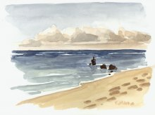 Kauai watercolor artwork by Hawaii Artist Emily Miller - Plein Air at Wailua Marina