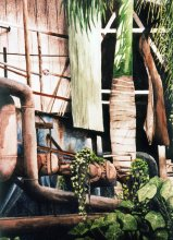 Haleko Sugar Mill - Hawaii watercolor by Emily Miller