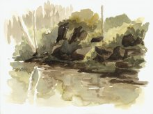 Kauai watercolor artwork by Hawaii Artist Emily Miller - Plein Air at Hoopii River