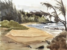 Kauai watercolor artwork by Hawaii Artist Emily Miller - Moloaa Beach river mouth, Plein Air
