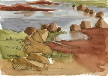 Kauai Artwork by Hawaii Artist Emily Miller - Plein Air at Salt Pond - salt flats
