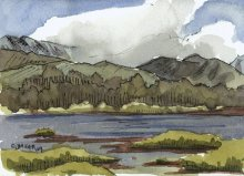 Kauai Artwork by Hawaii Artist Emily Miller - Plein Air at Salt Pond - Kalaheo hills