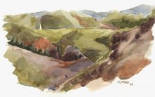 Kauai watercolor artwork by Hawaii Artist Emily Miller - Plein Air at Waimea Canyon