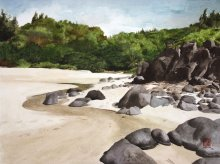Kauai Artwork by Hawaii Artist Emily Miller - High Tide at Kaluakai Beach