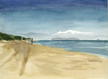 Kauai watercolor artwork by Hawaii Artist Emily Miller - Plein Air at Polihale 1 - view of Niihau