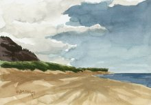 Kauai watercolor artwork by Hawaii Artist Emily Miller - Plein Air at Polihale 2 - Polihale Beach