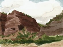 Kauai watercolor artwork by Hawaii Artist Emily Miller - Plein Air at Polihale 4 - the cliffs