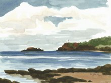 Kauai watercolor artwork by Hawaii Artist Emily Miller - Anini Beach & Kilauea Lighthouse, Plein Air