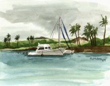 Catamaran at Kukuiula Harbor, plein air - Hawaii watercolor by Emily Miller