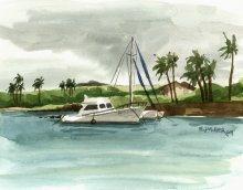 Catamaran at Kukuiula Harbor, plein air - Hawaii watercolor by Emily Miller