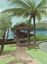 Kauai watercolor artwork by Hawaii Artist Emily Miller - Plein Air at Kukuiula Harbor 3