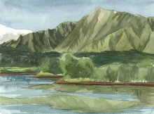 Kauai watercolor artwork by Hawaii Artist Emily Miller - Plein Air at Wailua Reservoir