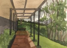 Kauai watercolor artwork by Hawaii Artist Emily Miller - Plein Air at NTBG research center