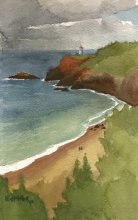 Kauai Artwork by Hawaii Artist Emily Miller - Storm over Kilauea Lighthouse & Secret Beach, Plein Air