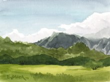 Kauai watercolor artwork by Hawaii Artist Emily Miller - Plein Air, Kapaa bypass