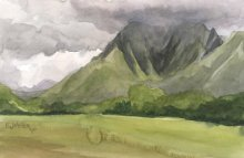 Kauai watercolor artwork by Hawaii Artist Emily Miller - Plein Air, Kapaa mountains