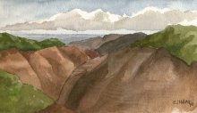 Kauai watercolor artwork by Hawaii Artist Emily Miller - Plein Air, Waimea Canyon to the sea