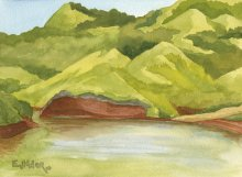 Kauai watercolor artwork by Hawaii Artist Emily Miller - Mountain Lake at Kauai Ranch