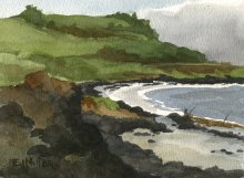 Kauai watercolor artwork by Hawaii Artist Emily Miller - Kealia bike path, plein air 2