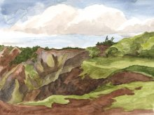 Kauai watercolor artwork by Hawaii Artist Emily Miller - Waimea Canyon colors