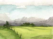 Kauai watercolor artwork by Hawaii Artist Emily Miller - Interior mountains, Wailua