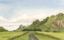 Kauai watercolor artwork by Hawaii Artist Emily Miller - Haupu mountains from Kipu Road