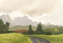 Kauai Artwork by Hawaii Artist Emily Miller - Sunset mountains from Kipu Road