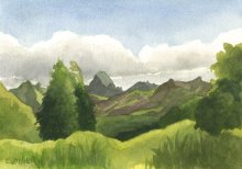 Kauai watercolor artwork by Hawaii Artist Emily Miller - Haupu Mountain from Kahili Mountain Park