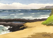 Kauai watercolor artwork by Hawaii Artist Emily Miller - Plein Air at Bullshed beach