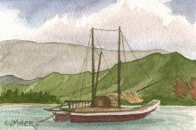 Voyaging Canoes in Hanalei - Hawaii watercolor by Emily Miller