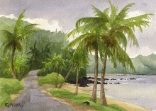Storm over Anini Beach - Hawaii watercolor by Emily Miller