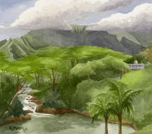 Plein air at Kauai's Hindu Monastery - Hawaii watercolor by Emily Miller