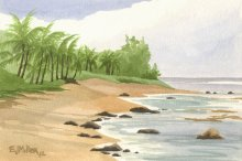 Plein Air at Haena Point - Hawaii watercolor by Emily Miller