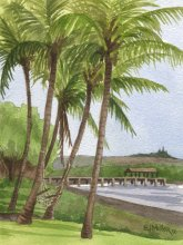 Kauai Artwork by Hawaii Artist Emily Miller - Plein air, Waimea Pier