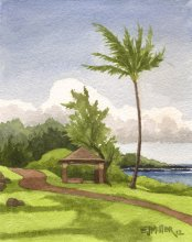 Kauai watercolor artwork by Hawaii Artist Emily Miller - Kapaa Path