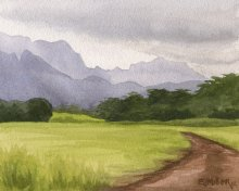 Kauai watercolor artwork by Hawaii Artist Emily Miller - Afternoon mountains, Lihue