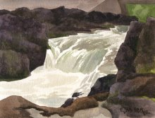 Kauai watercolor artwork by Hawaii Artist Emily Miller - Christian's Crossing