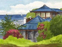 Kauai Artwork by Hawaii Artist Emily Miller - Blue Roofs
