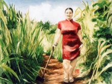 Kauai watercolor artwork by Hawaii Artist Emily Miller - Self-Portrait with an Axe