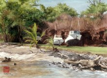 Hanapepe Harbor - Hawaii watercolor by Emily Miller