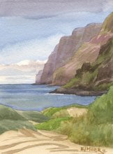 Kauai Artwork by Hawaii Artist Emily Miller - Plein Air at Polihale